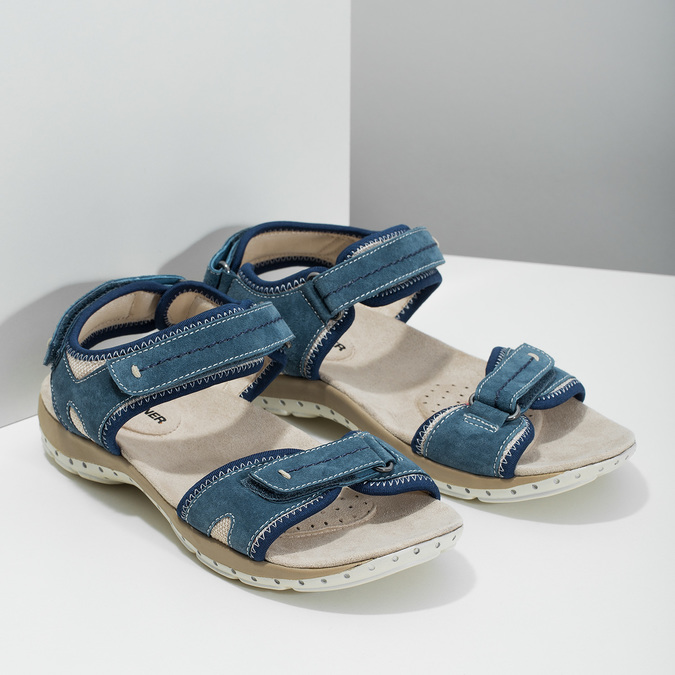 Ladies' leather sandals weinbrenner, blue , 566-9608 - 26