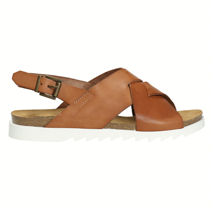 Ladies' interlacing leather sandals weinbrenner, brown , 566-4628 - 15