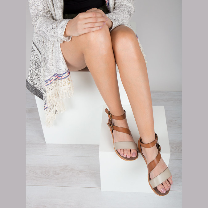 Leather sandals with a distinctive sole weinbrenner, brown , 566-4627 - 14