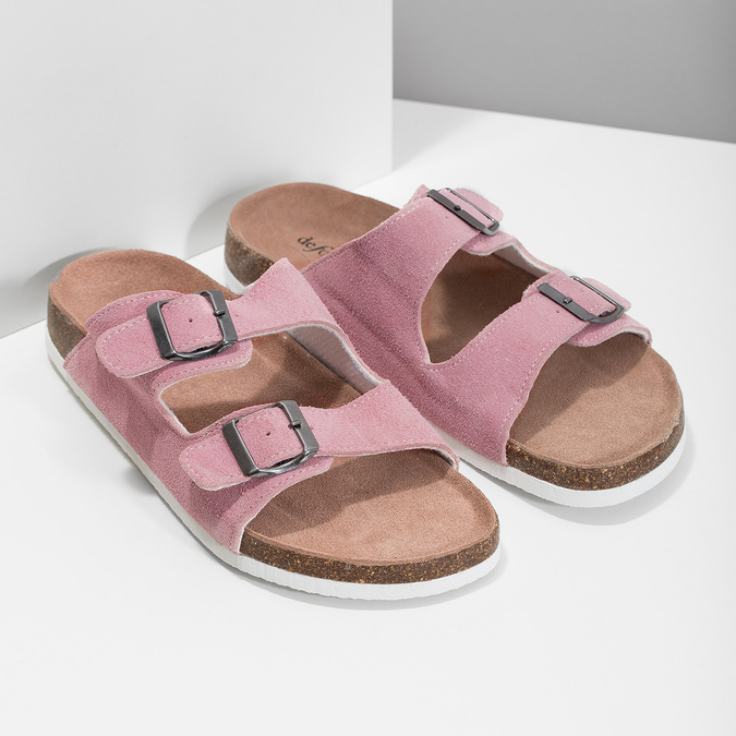 Ladies' leather sandals de-fonseca, pink , 573-5621 - 26