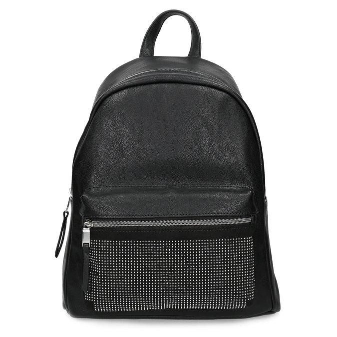 Black backpack with rhinestones bata, black , 961-6855 - 26