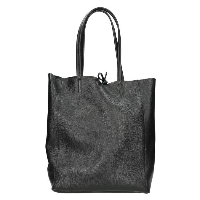Leather handbag v Shopper style bata, black , 964-6122 - 16