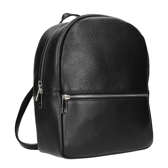 Black leather backpack bata, black , 964-6240 - 13