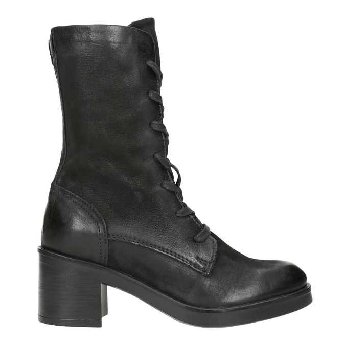 Black Leather Ankle Boots bata, black , 696-6646 - 26