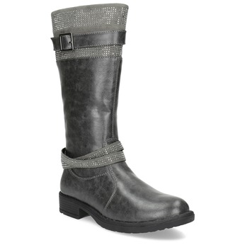 Girls' High Boots with Rhinestones mini-b, gray , 391-2655 - 13