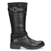 Black Girls' Leather High Boots mini-b, black , 391-6655 - 19