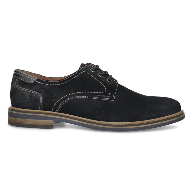 Blue leather shoes with stitching bata, blue , 823-9613 - 19