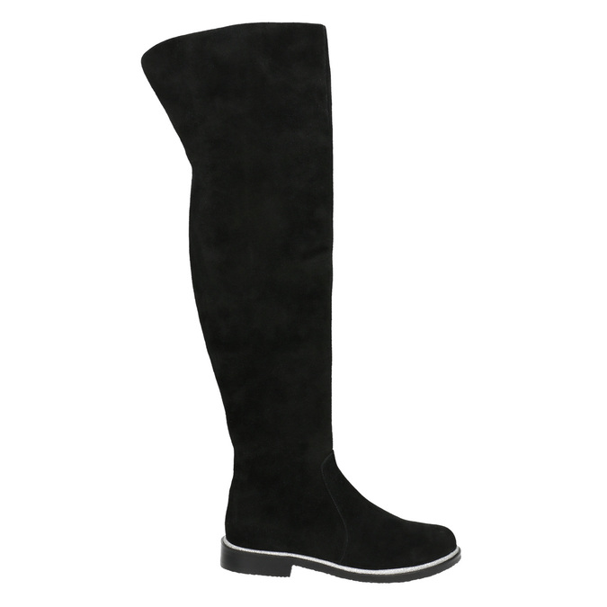 Brushed leather over-knee high boots bata, black , 593-6605 - 15
