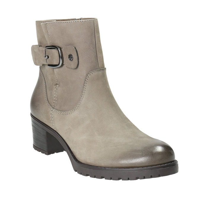 Leather ankle boots with a buckle bata, gray , 696-2621 - 13