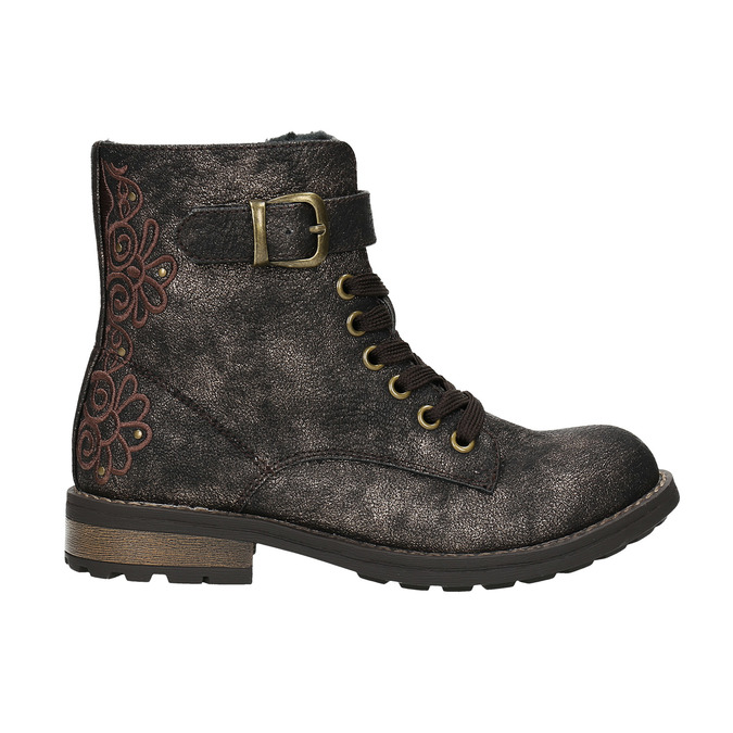 Children's Winter Boots with Embroidery mini-b, brown , 391-8654 - 15