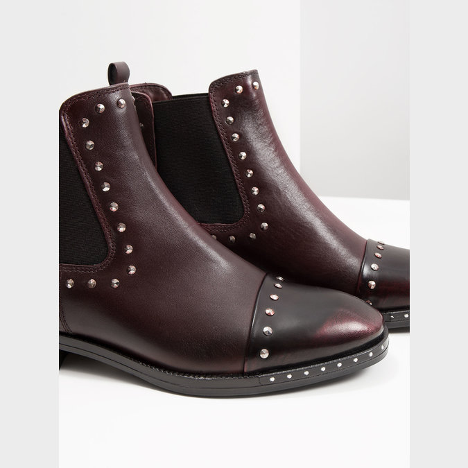 Ladies' leather Chelsea boots bata, red , 596-5679 - 14