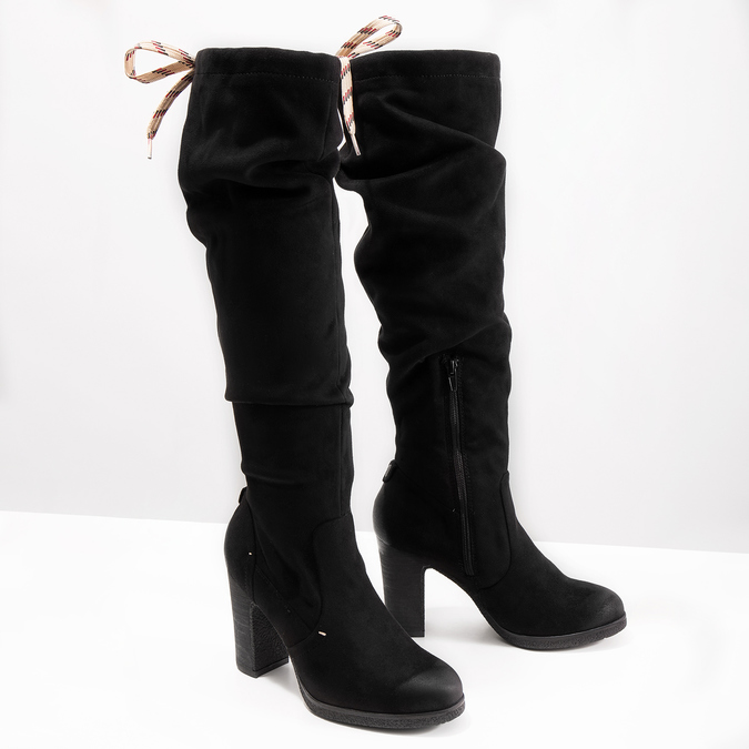 Ladies' black heeled high boots bata, black , 799-6614 - 18