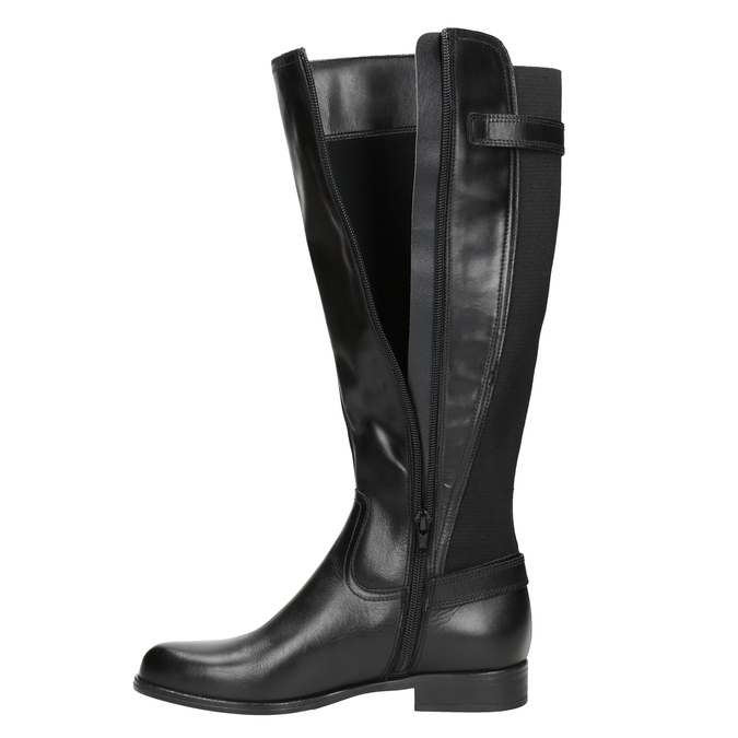Ladies' leather high boots with buckles bata, black , 594-6664 - 15