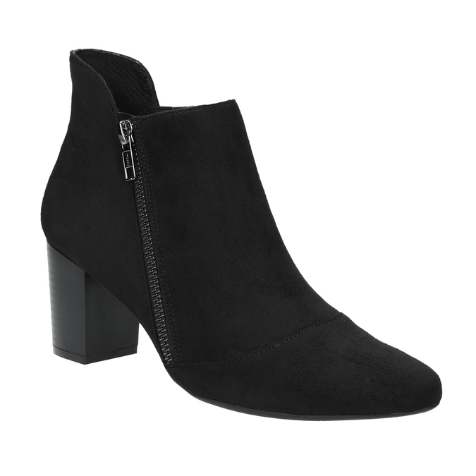 Heeled leather ankle boots rockport, black , 713-6056 - 13
