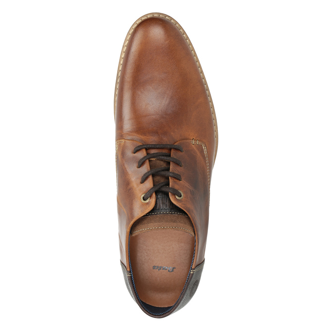 Brown leather dress shoes bata, brown , 826-3924 - 15