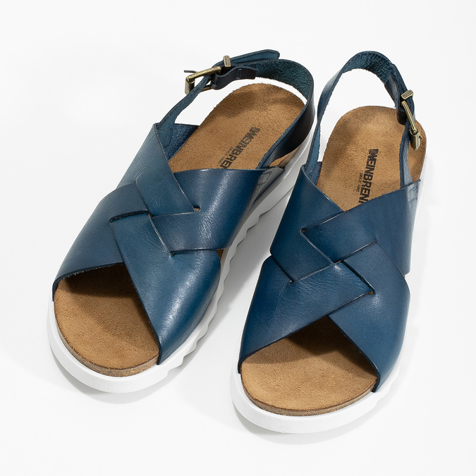 Ladies' leather sandals weinbrenner, blue , 566-9628 - 16