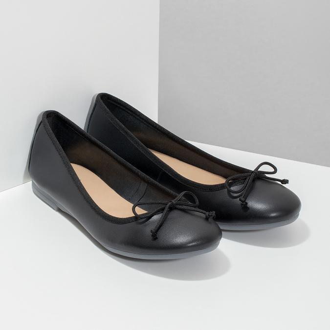 Leather ballerina shoes bata, black , 524-6144 - 26