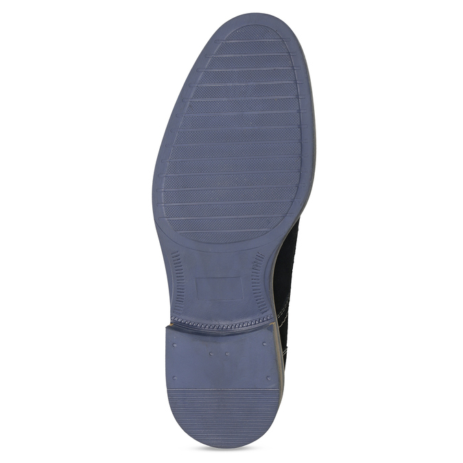 Blue leather shoes with stitching bata, blue , 823-9613 - 18