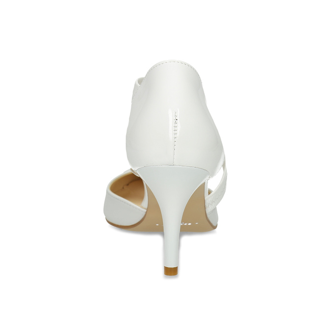 Pointed white pumps with an instep strap bata, white , 724-1904 - 15